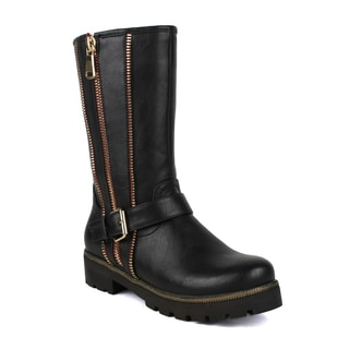 Fahrenheit Women's Isabel-08 Zipper and Buckle Embelished Mid-calf Riding Boots