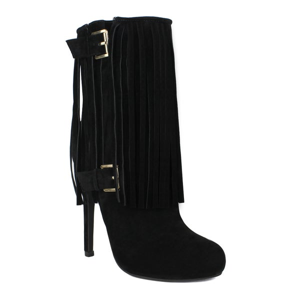 Fahrenheit women's Yuri-03 Fringe and Dual Buckle Detailed High-Heeled Women's Mid-calf Boots