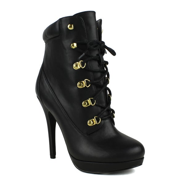 Fahrenheit women's Nina-05 Lace-up High-heeled Women's Ankle Bootie