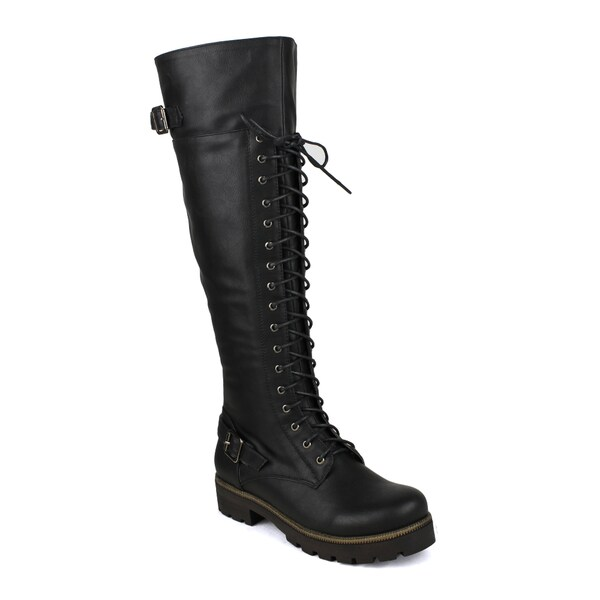 Fahrenheit women's Isabel-06 Lace-up and Buckle Detailed Women's Riding Boots