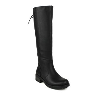 Mark and Maddux women's Leslie-10 Back Lace Detail Women's Knee-high Riding Boot