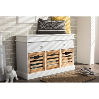 Baxton Studio Rochefort British Colonial White and Natural Finished 5-drawer Storage Bench