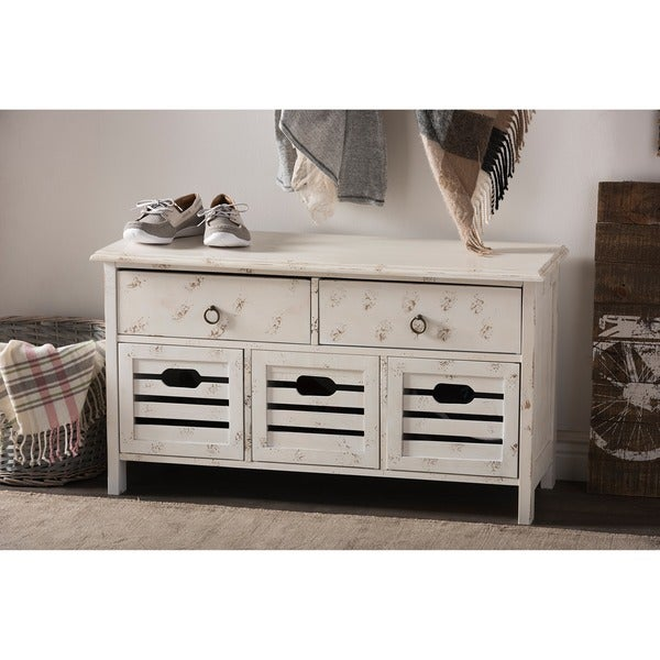 Rococo Shabby Chic Vintage Pine Wood Antique White Wash Finishing 5-Drawers Storage Seating Bench