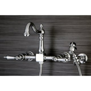 Victorian Wallmount Chrome Kitchen Faucet with Side Sprayer