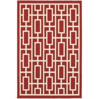 Geometric Trellis Red/ Ivory Indoor Outdoor Area Rug (8'6 x 13')
