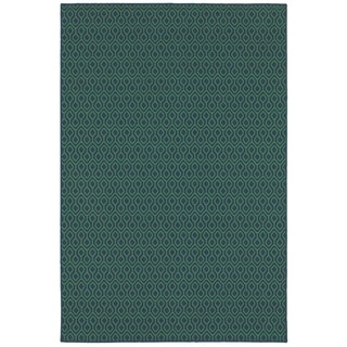 Simple Geometric Navy/ Green Indoor Outdoor Area Rug (8'6 x 13')
