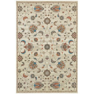 Updated Traditional Floral Beige/ Multi Area Rug (7'10 x 10'10)