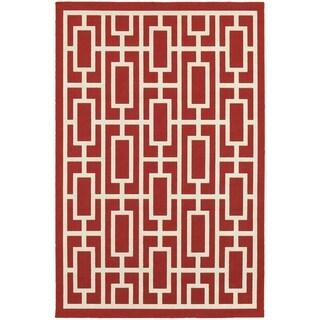 Geometric Lattice Red/ Ivory Indoor Outdoor Area Rug (7'10 x 10'10)