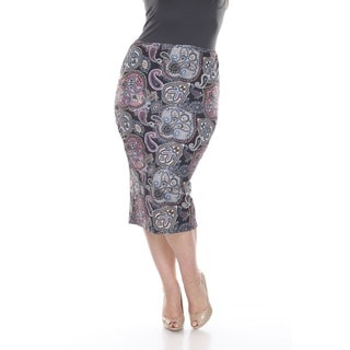 White Mark Women's Plus Size Multicolor Paisley Print Pencil Skirt