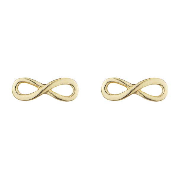 Gold Infinity Charm Stud Earrings