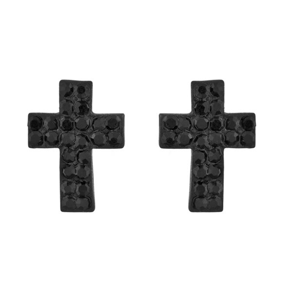 Black Petite Cross Rhinestone Stud Earrings