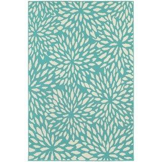 Floral Splash Blue-green/ Ivory Indoor Outdoor Area Rug (7'10 x 10'10)