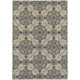 Global Influence Floral Medallion Beige/ Grey Area Rug (7'10 x 10'10)