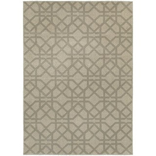 Global Influence Geometric Lattice Grey/ Beige Area Rug (7'10 x 10'10)