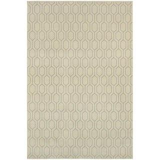 Geometric Lattice Heathered Ivory/ Grey Area Rug (7'10 x 10'10)