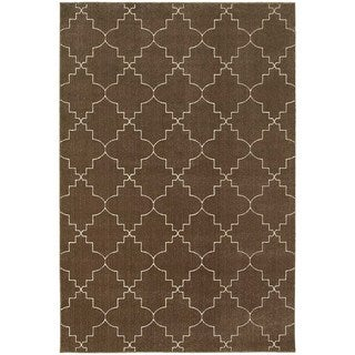 Scalloped Lattice Heathered Brown/ Ivory Area Rug (7'10 x 10'10)