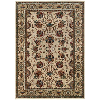Updated Old World Persian Flair Ivory/ Red Area Rug (7'10 x 11')