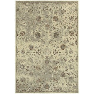 Distressed Traditional Floral Beige/ Grey Area Rug (6'7 x 9'6)