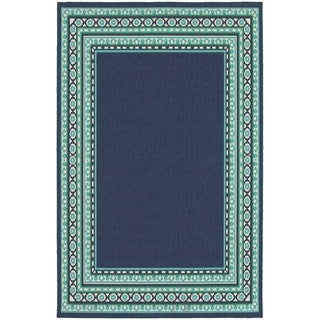 Beautiful Borders Navy/ Green Indoor Outdoor Area Rug (6'7 x 9'6)