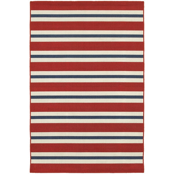 Americana Stripes Red Blue Indoor Outdoor Area Rug 6 7 X