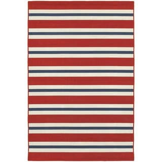 Americana Stripes Red/ Blue Indoor Outdoor Area Rug (6'7 x 9'6)