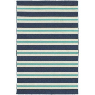 Multi Striped Blue/ Ivory Indoor Outdoor Area Rug (6'7 x 9'6)