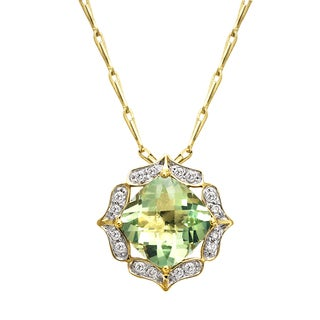 Beverly Hills Charm 14k Yellow Gold Green Amethyst and 1/5ct TDW Diamond Necklace (H-I, SI2-I1)