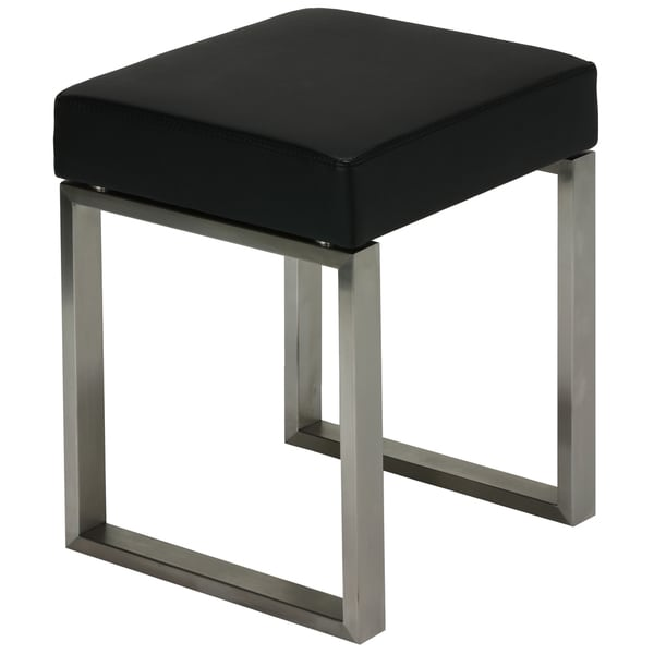 Cortesi Home Tilio Stainless Steel Black Vinyl Stool