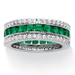 PalmBeach Platinum over Sterling Silver 10 7/8ct Princess-cut Simulated Emerald Eternity Ring Color Fun