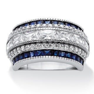 PalmBeach Platinum over Sterling Silver 3 1/3ct Emerald-cut Cubic Zirconia Art Deco-Inspired Ring Color Fun