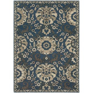 Global Influence Floral Traditional Midnight/ Beige Area Rug (6'7 x 9'6)