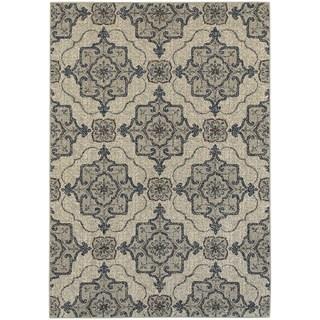 Global Influence Floral Medallion Beige/ Grey Area Rug (6'7 x 9'6)