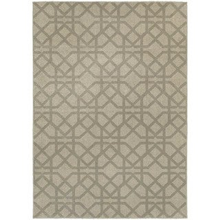 Global Influence Geometric Lattice Grey/ Beige Area Rug (6'7 x 9'6)