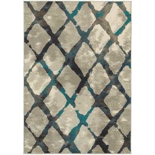 Global Influence Diamond Lattice Grey/ Blue Area Rug (6'7 x 9'6)