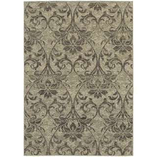Global Influence Floral Damask Grey/ Ivory Area Rug (6'7 x 9'6)