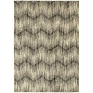 Global Influence Chevron Ikat Grey/ Ivory Area Rug (6'7 x 9'6)