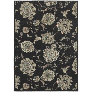 Global Influence Floral Midnight/ Ivory Area Rug (6'7 x 9'6)