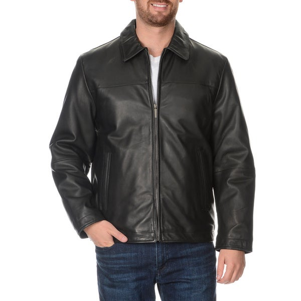 Perry Ellis Men's Zip Front Leather Jacket