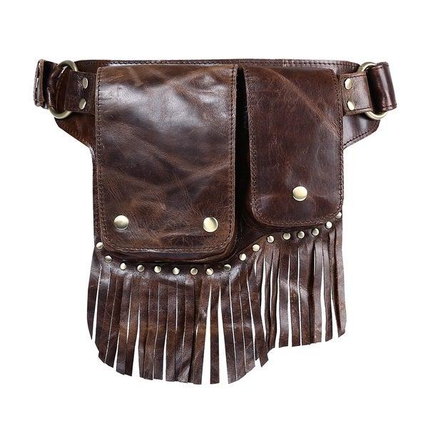 Avril Leather Fringe Waist pack Belt Bag