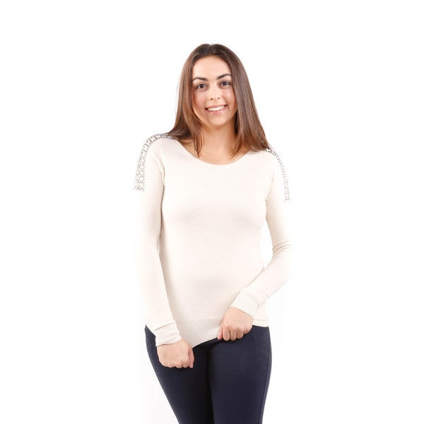 Hadari Women's Shoulder Embellished Sweater