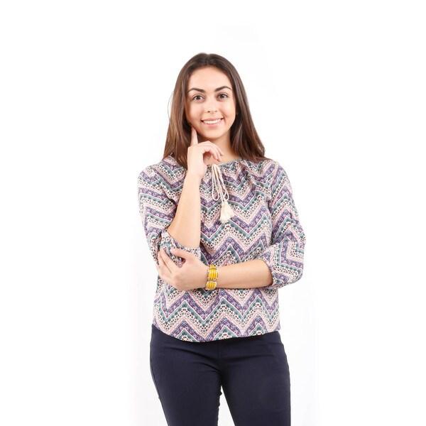 Hadari Women's 3/4 Sleeve Chevron Print Blouse