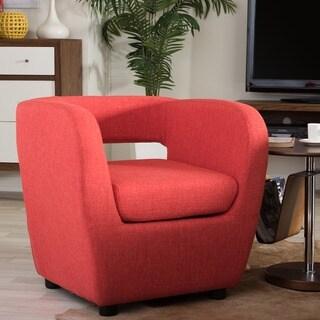 Baxton Studio Ramon Mid-century Modern Burst Orange Fabric Upholstered Lounge Accent Chair