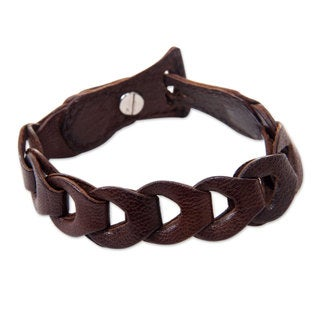 Handcrafted Leather 'Infinity in Brown' Bracelet (Indonesia)