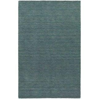 Handwoven Wool Heathered Blue Area Rug (5' x 8')