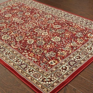 Updated Old World Persian Flair Red/ Ivory Area Rug (5'3 x 7'9)