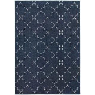 Scalloped Lattice Heathered Navy/ Ivory Area Rug (5'3 x 7'6)