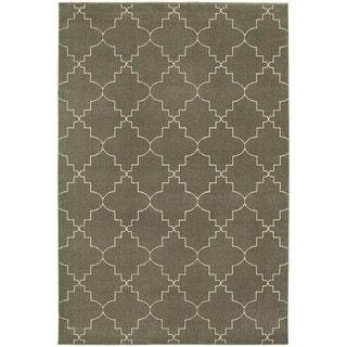 Scalloped Lattice Heathered Grey/ Ivory Area Rug (5'3 x 7'6)