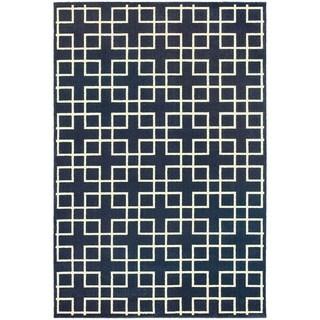 Geometric Trellis Heathered Navy/ Ivory Area Rug (5'3 x 7'6)