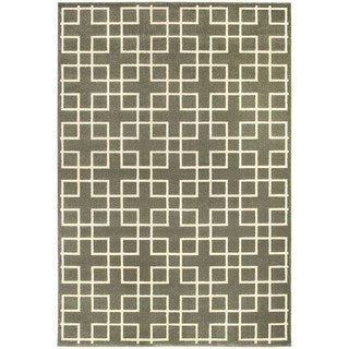 Geometric Trellis Heathered Grey/ Ivory Area Rug (5'3 x 7'6)