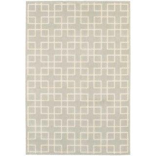 Geometric Trellis Heathered Ivory/ Ivory Area Rug (5'3 x 7'6)